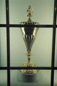 The Anne Boleyn Cup. This 16th century gilded silver goblet was given to Dr Richard  Masters by Anne Boleyn, and Dr Masters presented it to the church.